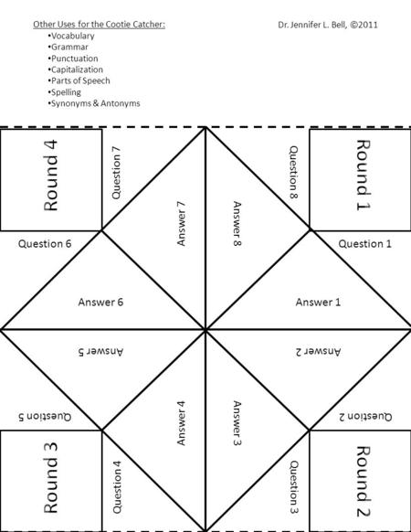 Cootie Catcher or Fortune Teller \u2013 to fill-in on computer - ppt