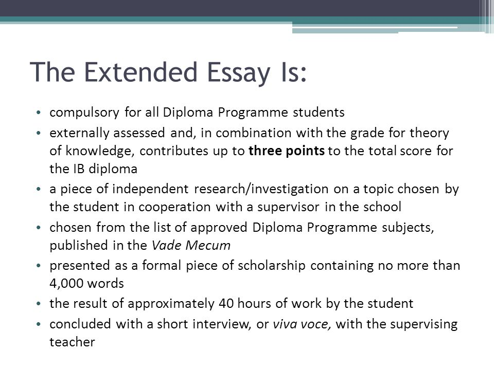International Baccalaureate The Extended Essay - ppt download