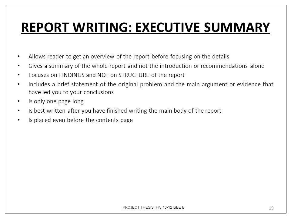 Project Executive Summary Template - Arch-times - project executive summary template