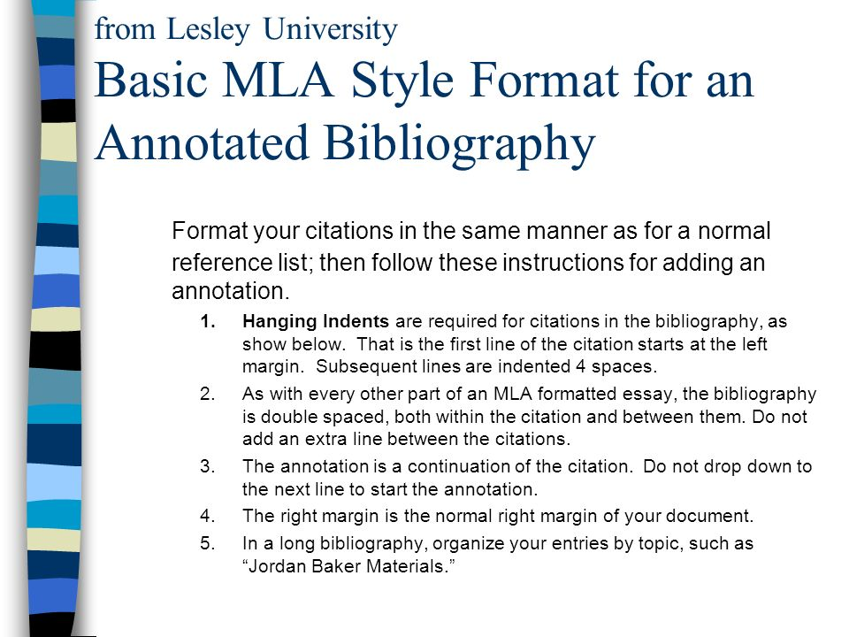 Example of annotated bibliography mla format Research paper Sample