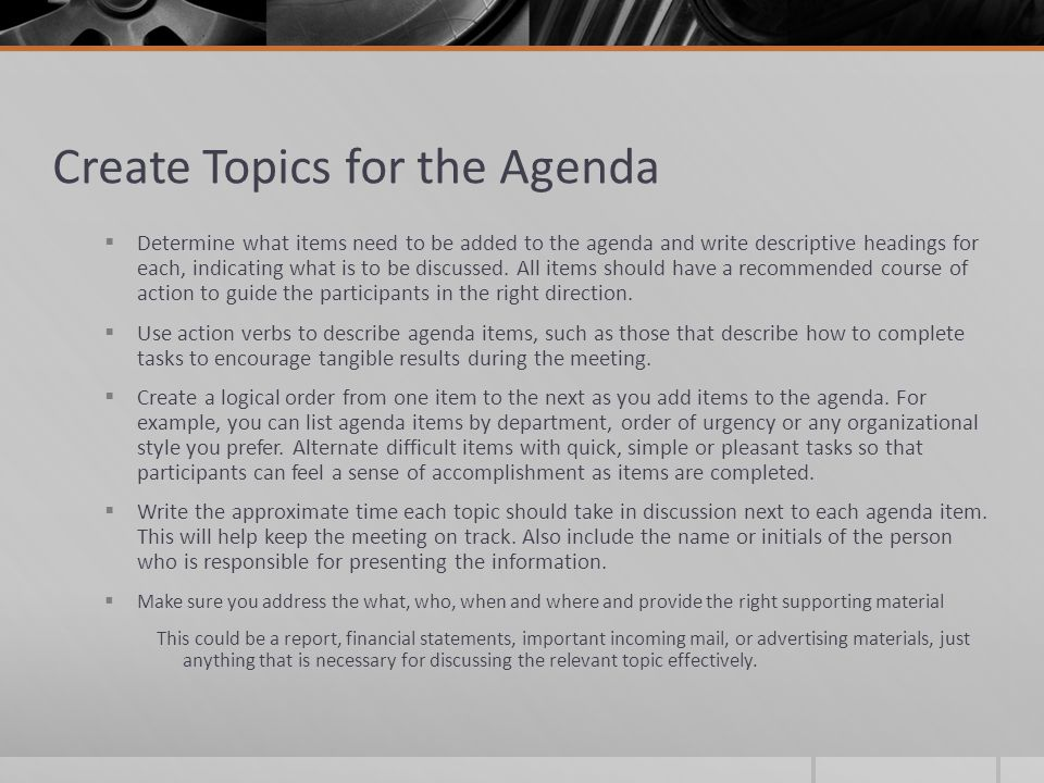 How to Create a Meeting Agenda - ppt video online download - make an agenda