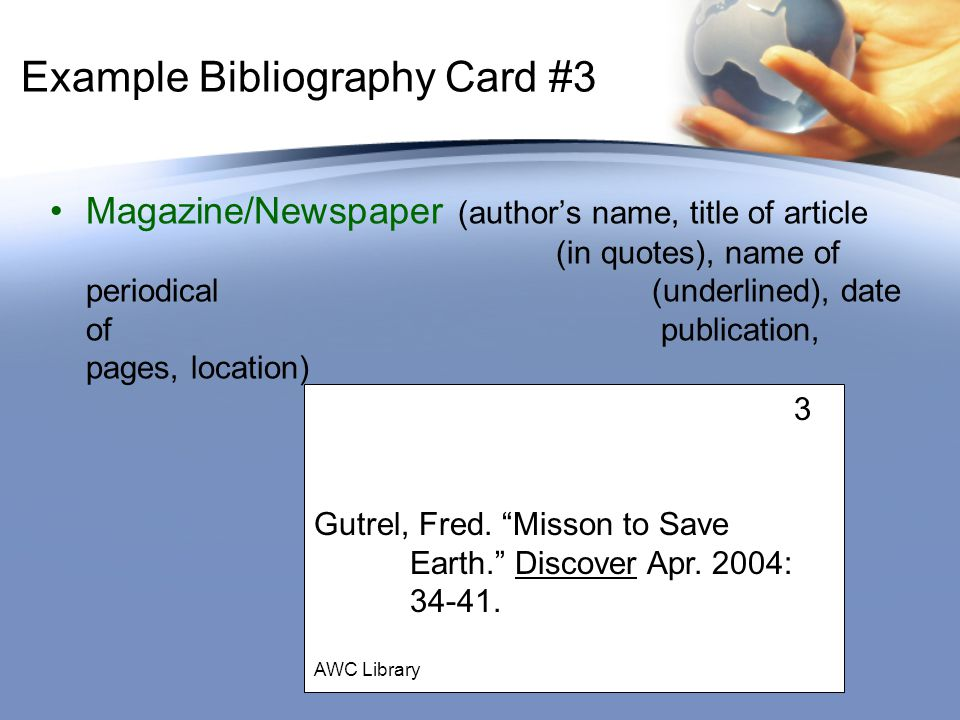 Bibliography and Note Cards - ppt download - name card example