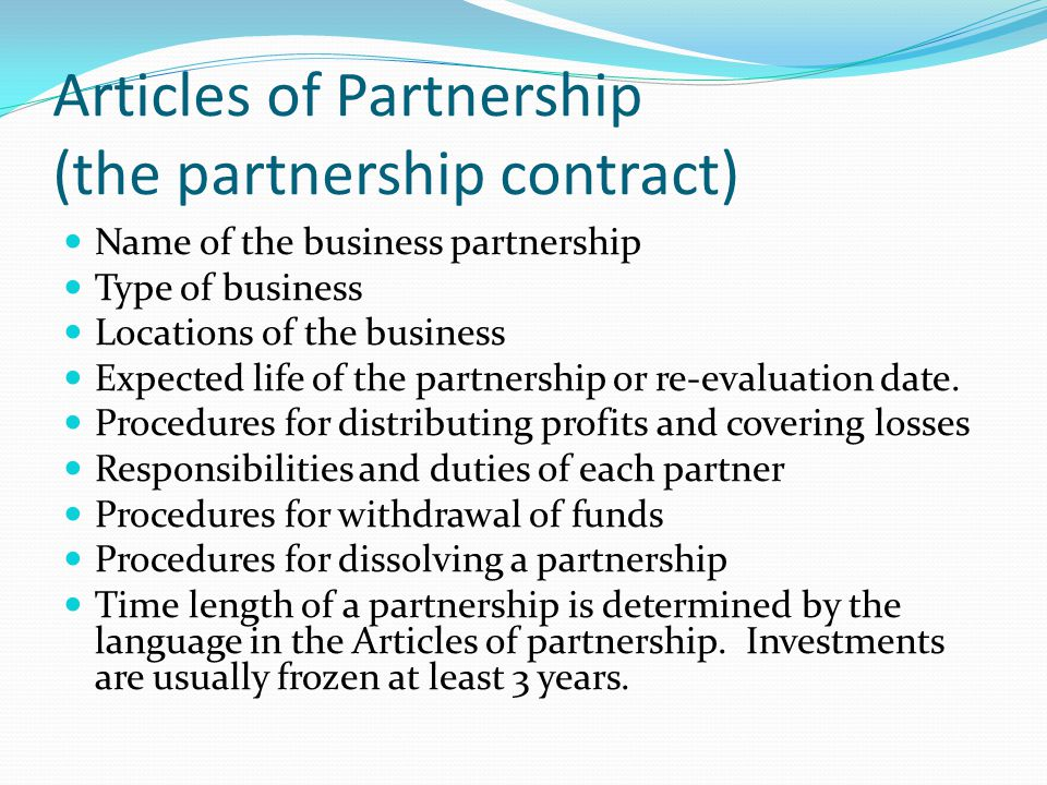 Forms of Business Ownership - ppt video online download - business partnership contract
