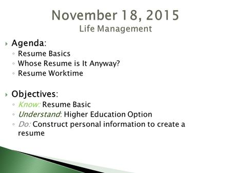 Resume Writing CREATING THE EFFECTIVE RESUME  What is a Resume - higher education resume