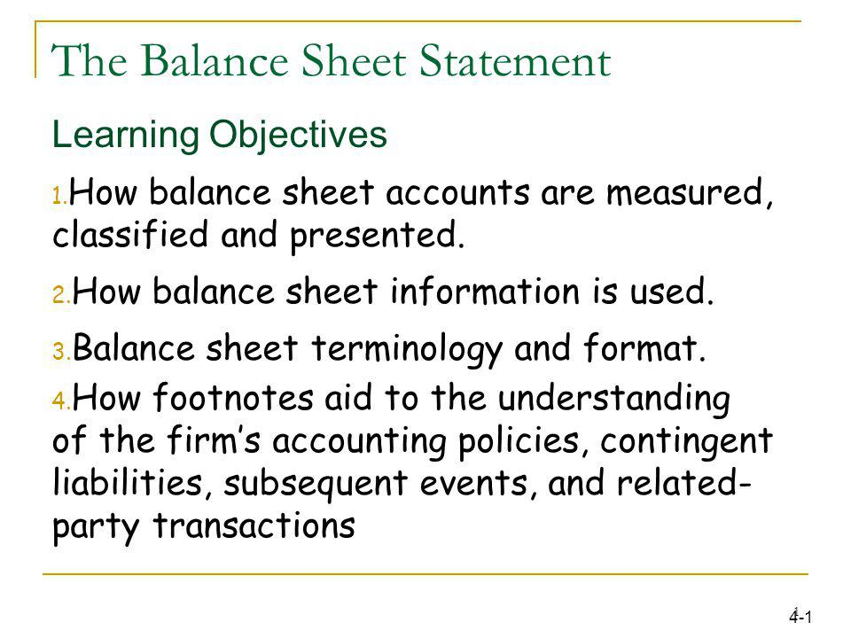 The Balance Sheet Statement - ppt download - Balance Sheet Classified Format