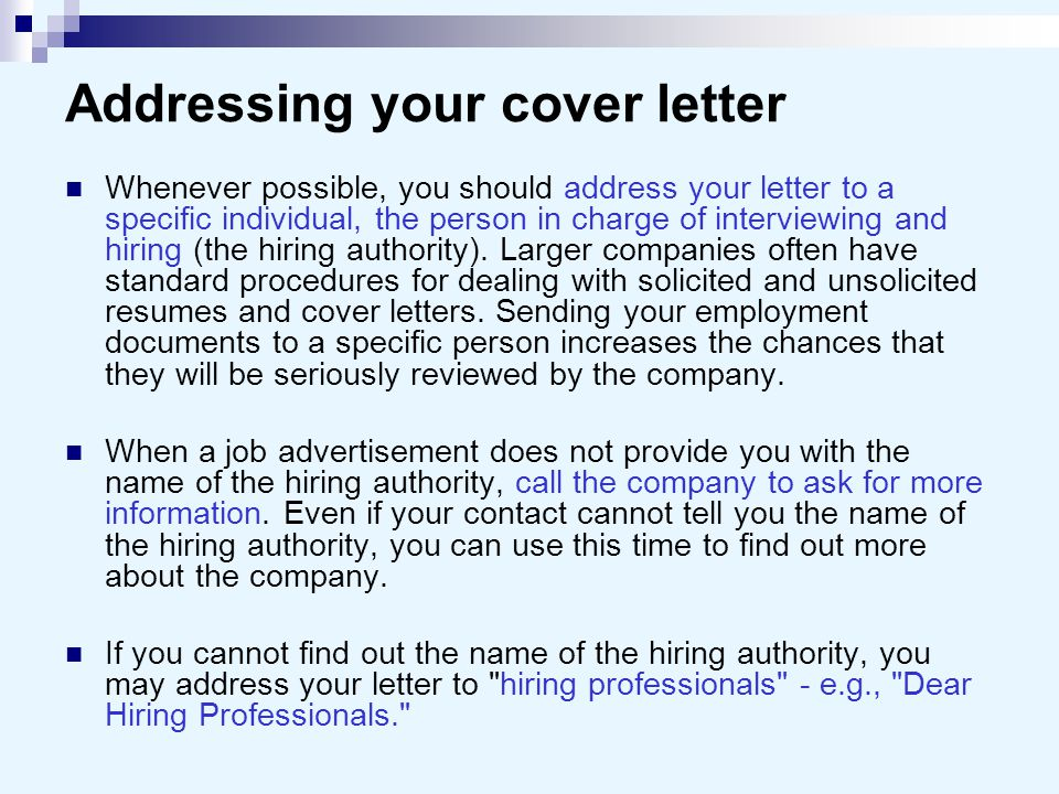 addressing a cover letter to a person