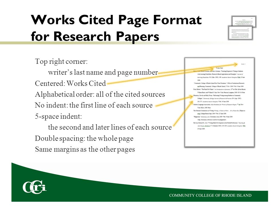 Works cited page format for research paper / ishikeduiq
