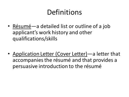 Preparing for Employment - ppt download - job qualifications list