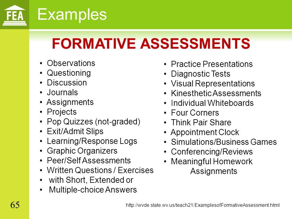 different exles of formative assessment - Teacheng