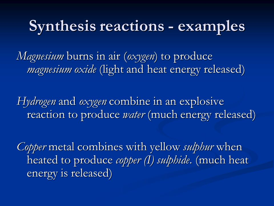 Synthesis reaction examples College paper Service - synthesis reaction