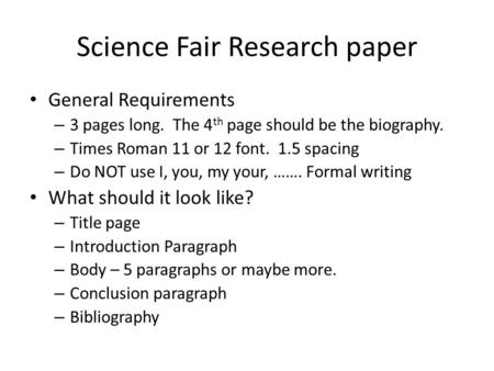 Write my science fair research paper outline template
