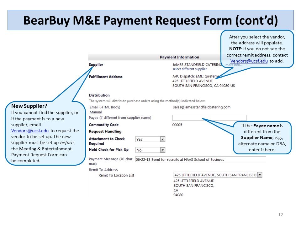 The Meeting and Entertainment (M\E) Payment Request Form - ppt - vendor request form