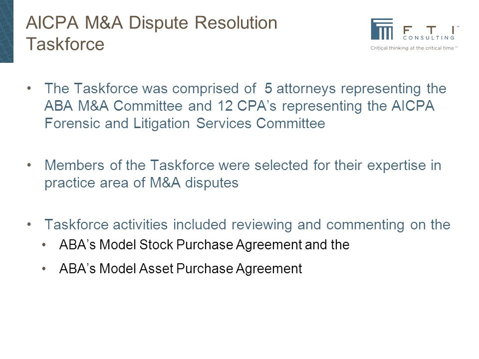 AICPA Practice Aid Mergers and Acquisition Disputes - ppt download - stock purchase agreement