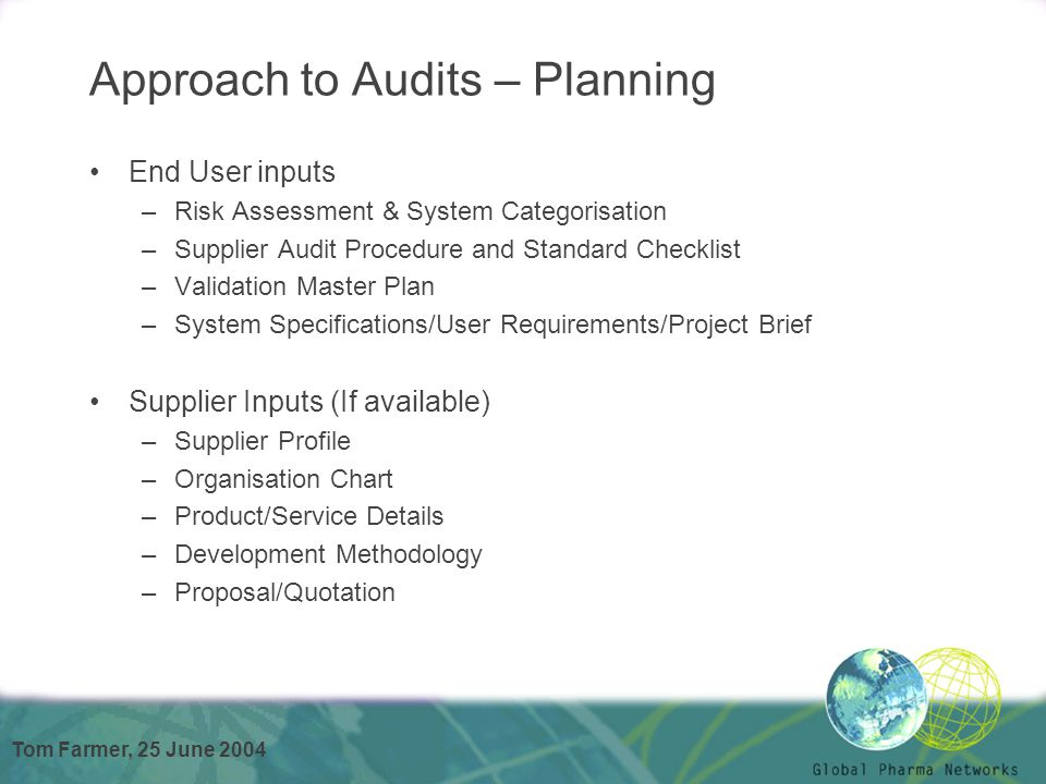 IPCMF \ ISPE Conference Global Pharma Networks Tom Farmer - ppt - audit quotation