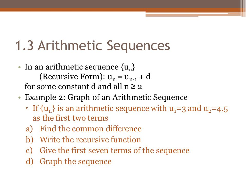 Chapter 1 Number Patterns 13 Arithmetic Sequences - ppt video - arithmetic sequence example