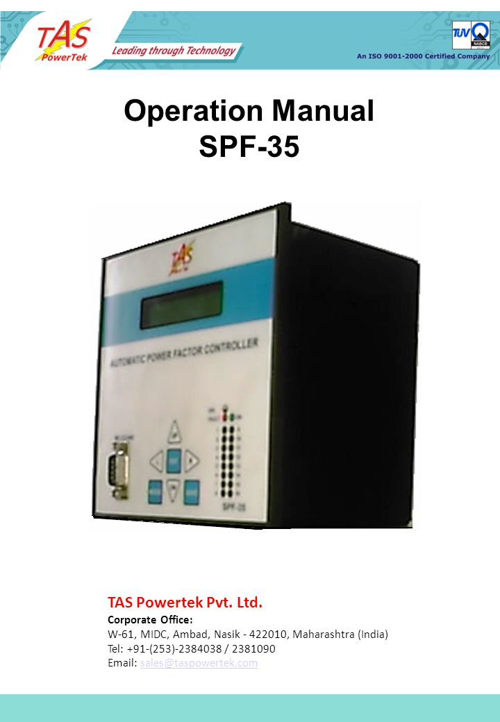 Operation Manual SPF-35 TAS Powertek Pvt Ltd Corporate Office W - operation manual