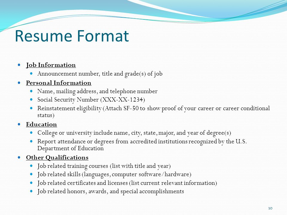 resume accomplishments format