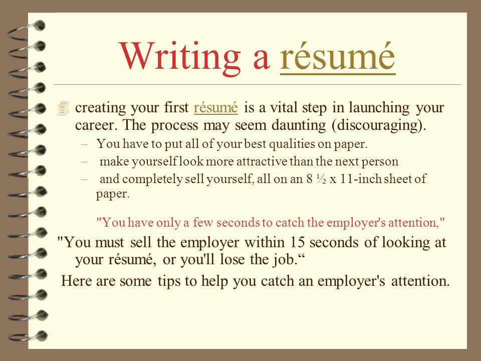 How to Write your First Résumé ? - ppt video online download - how to write a resume for your first job