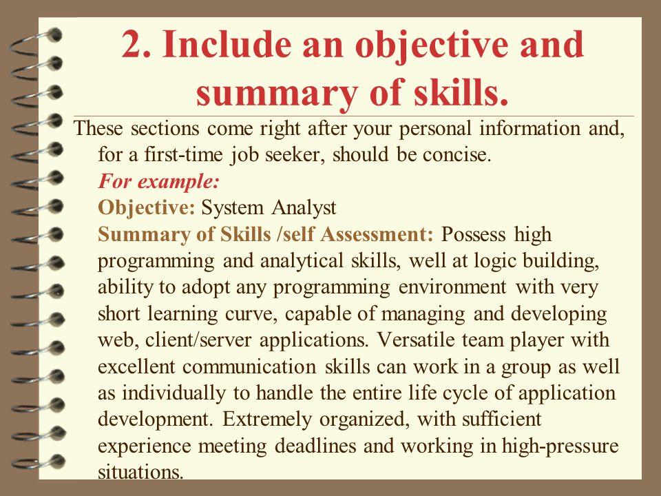 objective job application