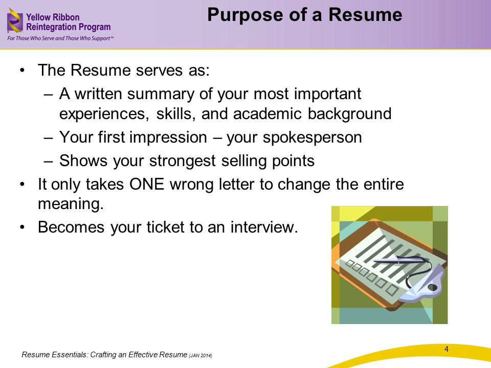 Resume Essentials Crafting An Effective Resume - ppt download - purpose of a resume