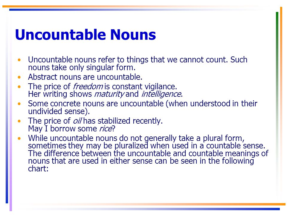 uncountable abstract nouns