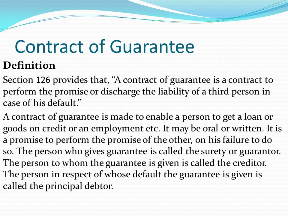 Indemnity and Guarantee - ppt video online download - person to person loan contract