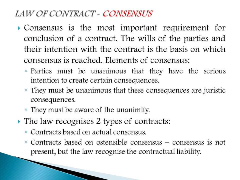 LAW OF CONTRACT \u2013 DEFINITION ,BASIC CONCEPTS and CONSENSUS - ppt
