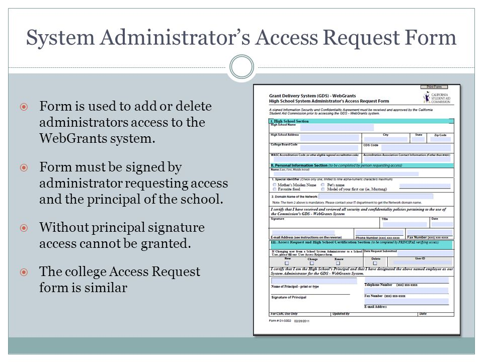 Cal Grant GPA Submission Training \u2013 Non-SSN - ppt video online download - access request form