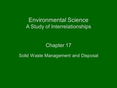 Solid Waste Management and Disposal - ppt video online download - waste management ppt