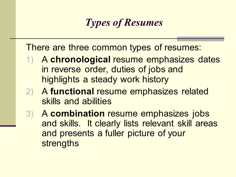 Writing Winning Resumes u2013 Marketing Your Professional Self - ppt - 3 types of resumes