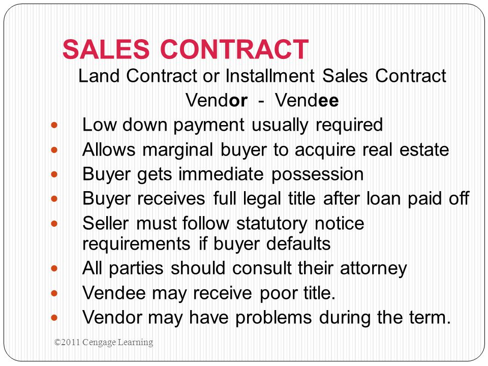 2011 Cengage Learning - ppt video online download - installment sales contract