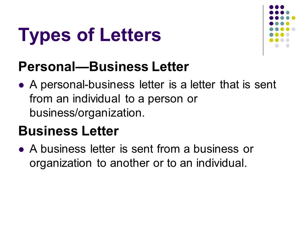 Business Letters a how to! - ppt video online download - Personal Business Letter Example