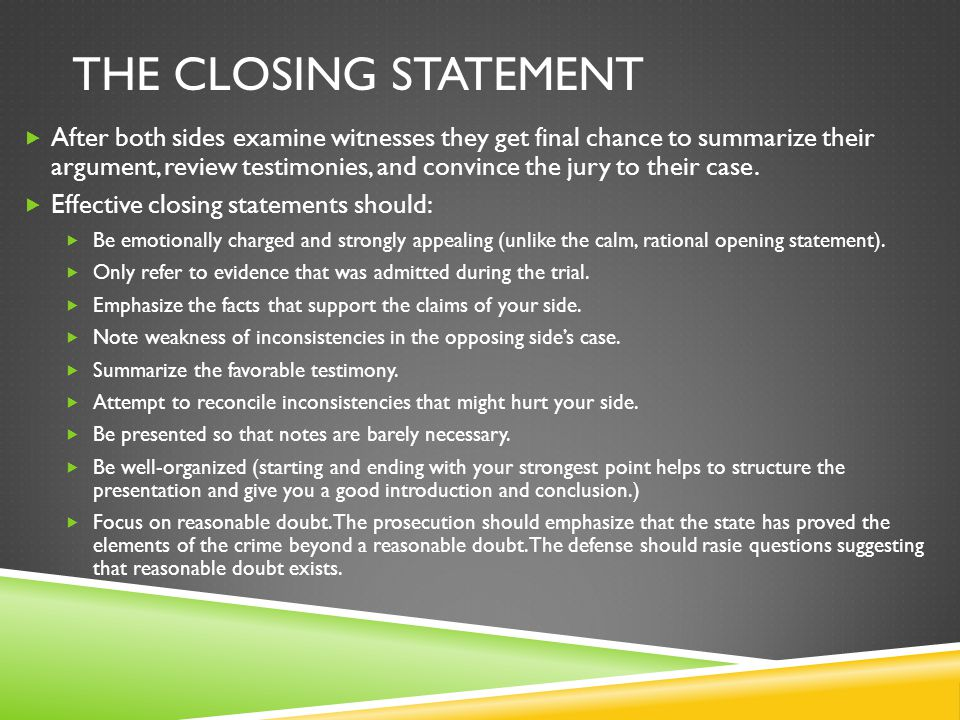 How to write a closing statement example - How to Write a Good