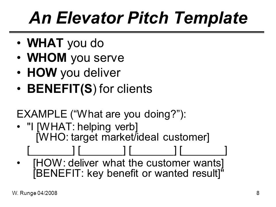 elavator pitch - Leonescapers - elevator pitch template
