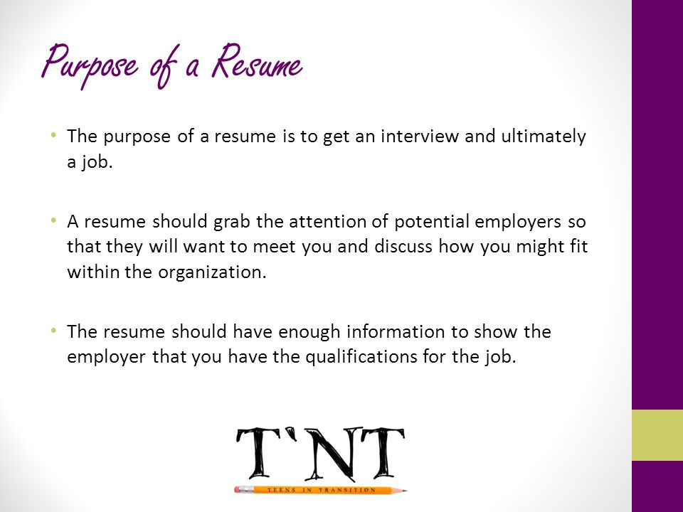 Preparing for Employment - ppt download - purpose of a resume
