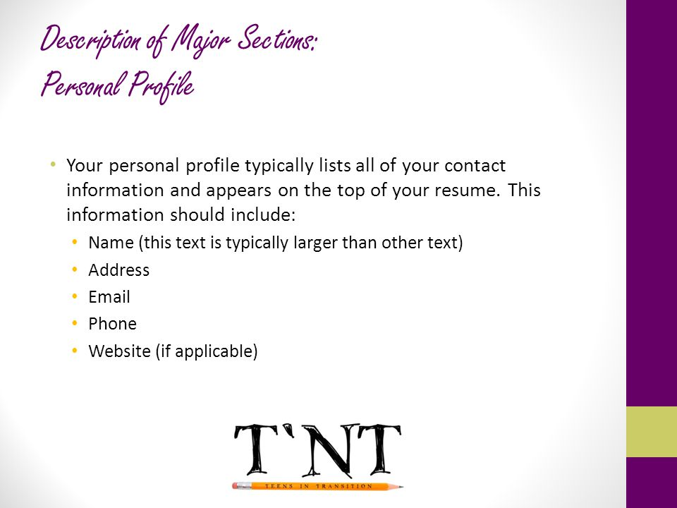 Optimize existing powerpoint template personal profile on your - sample resume personal profile
