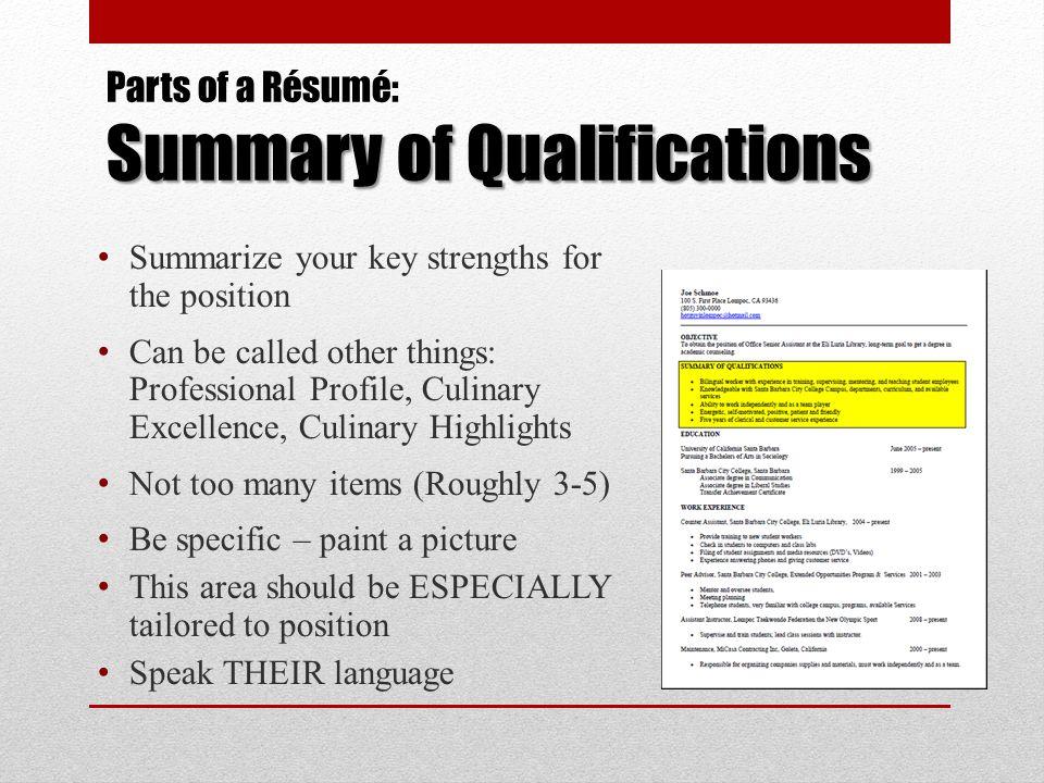 resume key qualifications