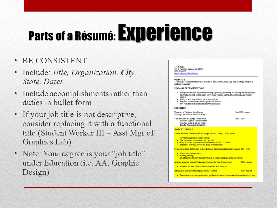 a rsum workshop for culinary arts students ppt download parts of a resume
