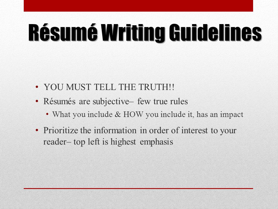 A Résumé Workshop for Culinary Arts Students - ppt download - guidelines for what to include in a resume
