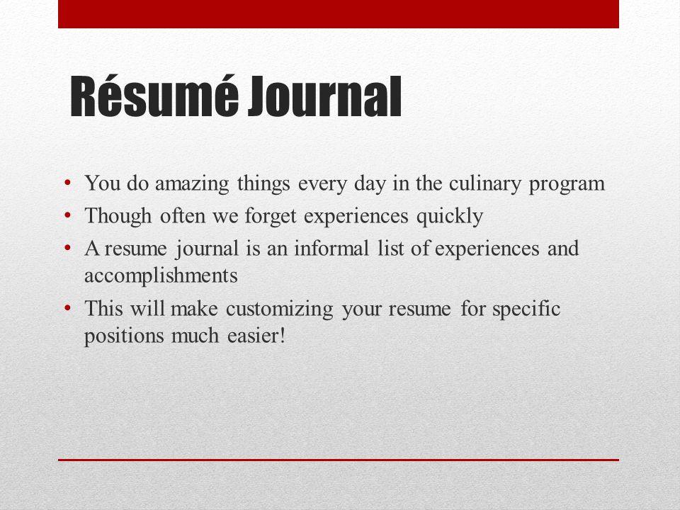 sample culinary resume