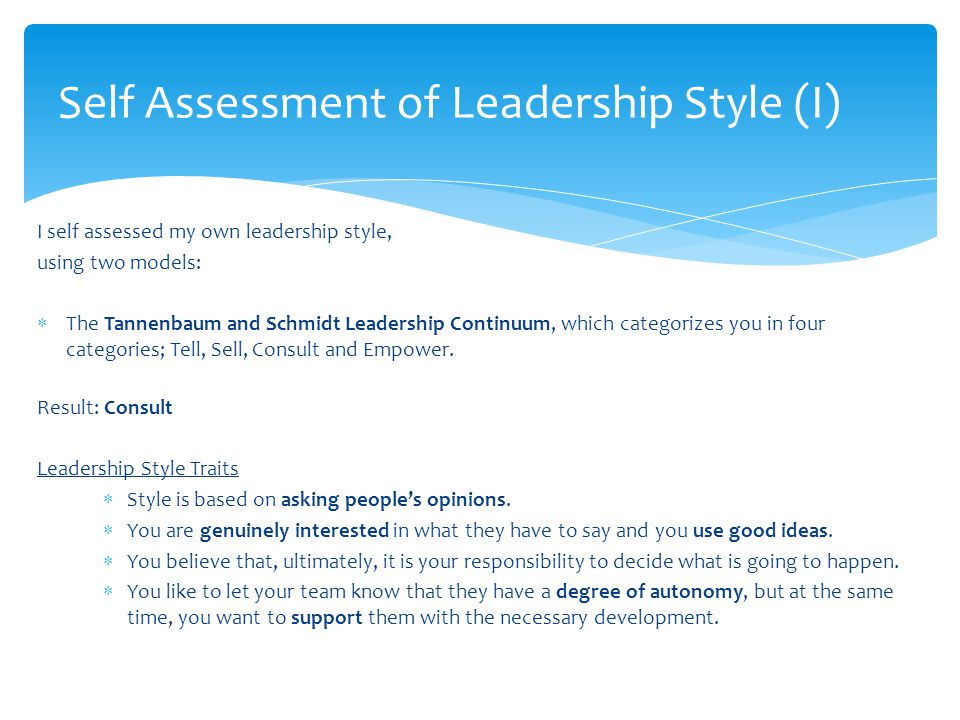 Leadership style self analysis Homework Help btassignmentmvwpdedupinfo - leadership self assessment