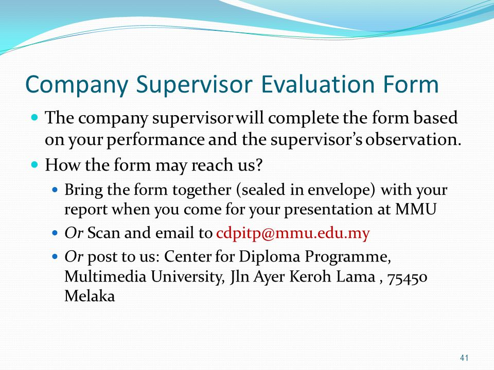 On The Job Training Evaluation Form employee evaluation form – Supervisor Evaluation