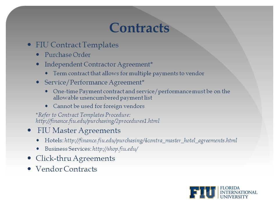 Purchasing 101 Basic Purchasing Training for FIU Departments - ppt - purchase order contract template