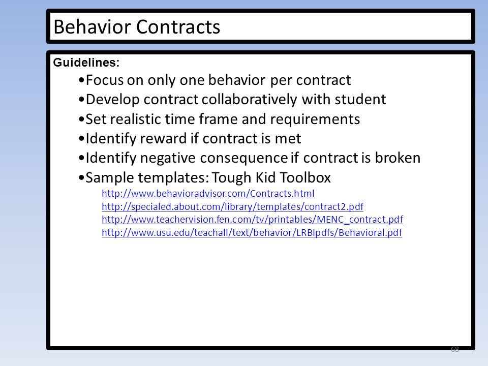 Behavior Management And Elementary Students With AdhdSample - sample behavior contract
