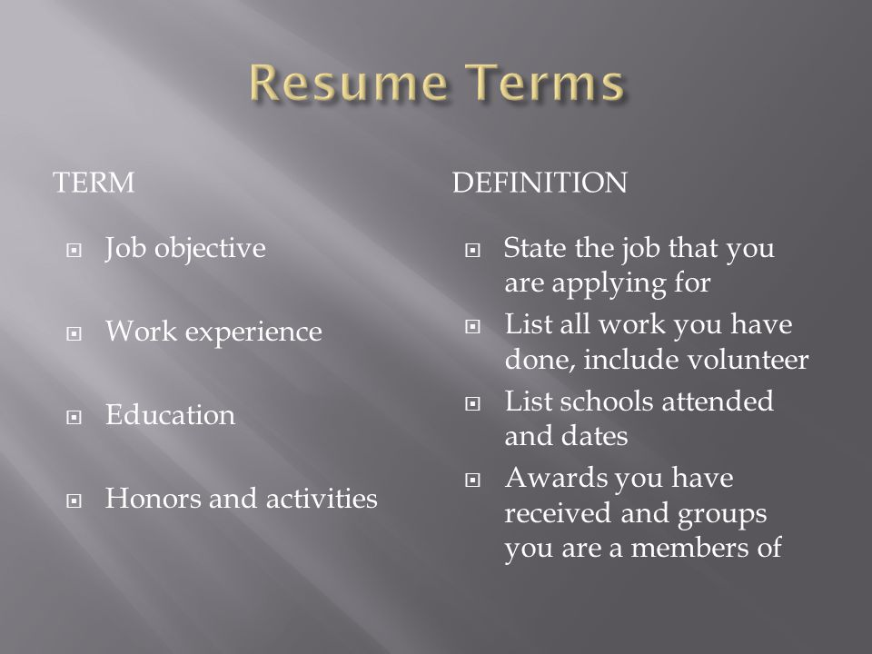 Resume Meaning In Legal Terms