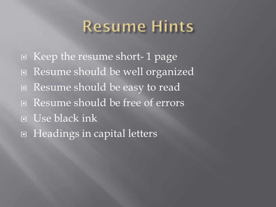Hints For Good Resumes 113 Hints For Good Resumes
