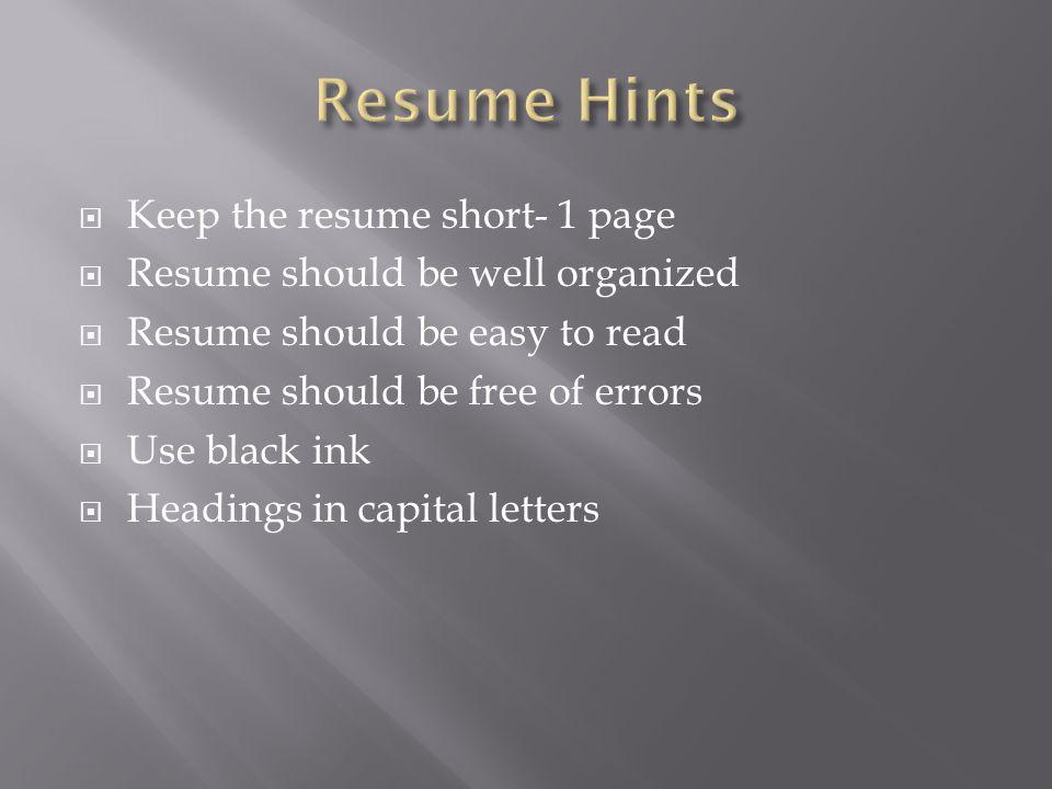 resume hints resume ideas