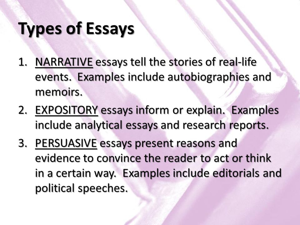 Types of essays examples - Different types of essays and examples