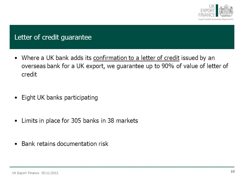 UK Export Finance Products and Services - ppt video online download - guarantee letter