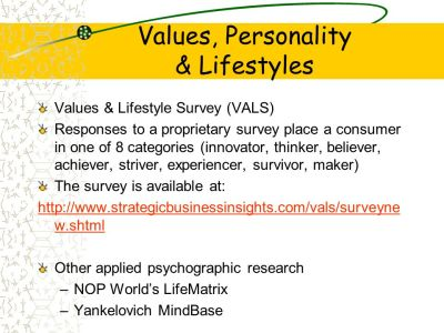 Psychographics: Values, Personality, & Lifestyles - ppt ...